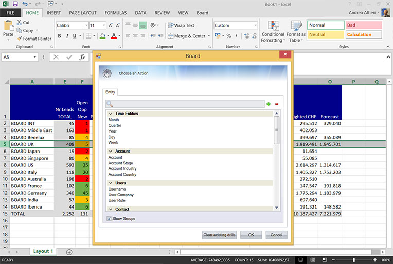 MS office integration with BI Software BOARD