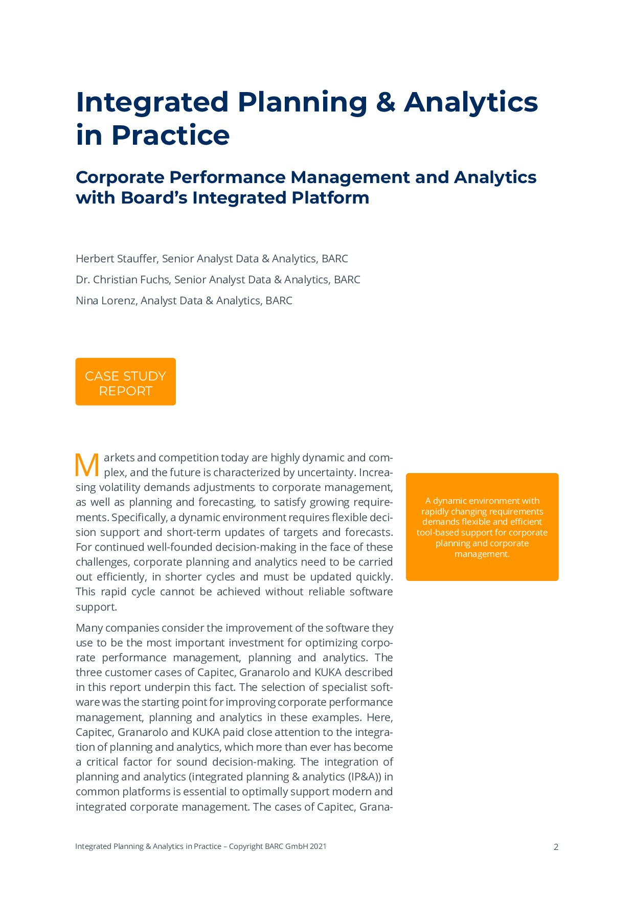 BARC - Integrated Planning & Analytics in Practice   Page 2