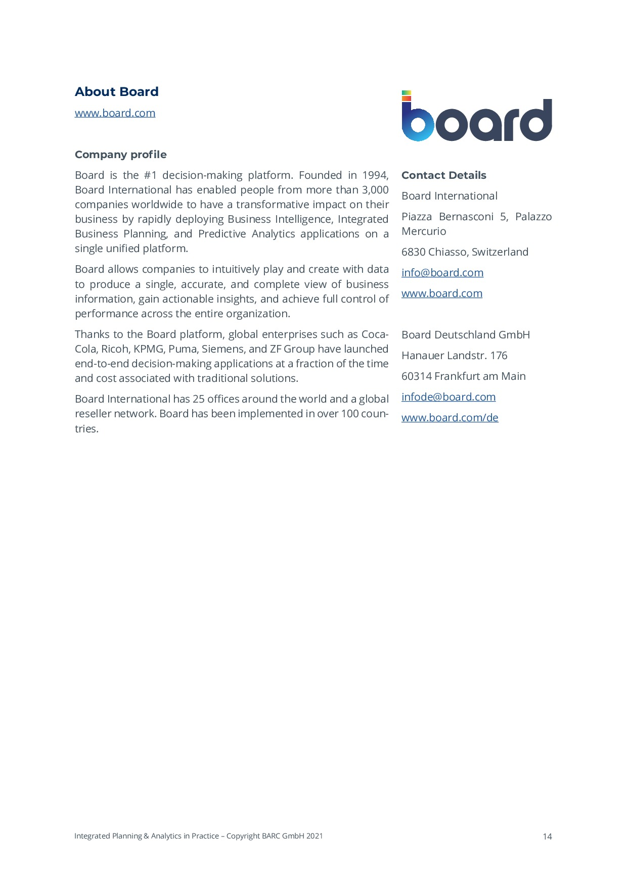BARC - Integrated Planning & Analytics in Practice   Page 14