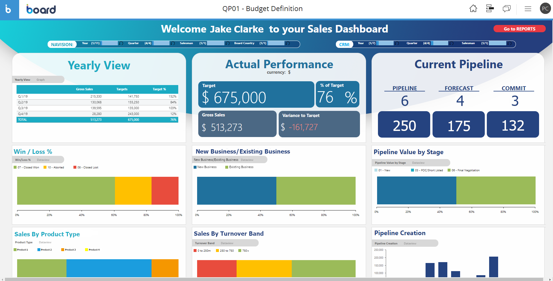 Software for sales metrics analysis and target management screen example